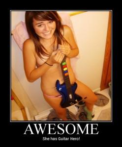 Тя играе Guitar Hero